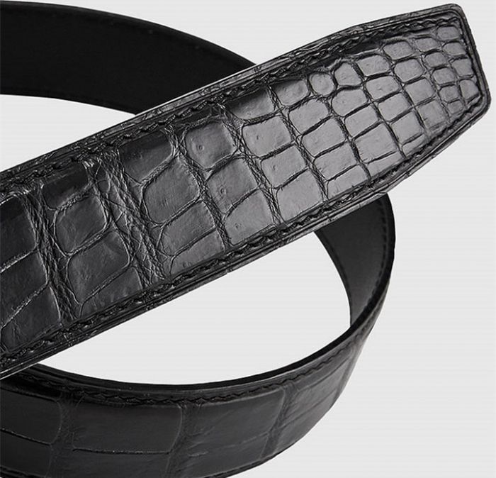 Mens Alligator Leather Belt with Automatic Buckle-2