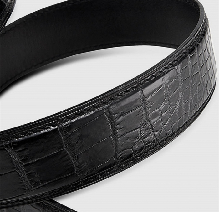 Mens Alligator Leather Belt with Automatic Buckle-3