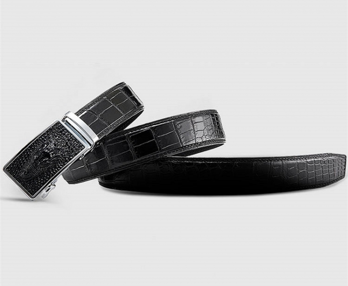 Mens Alligator Leather Belt with Automatic Buckle-5