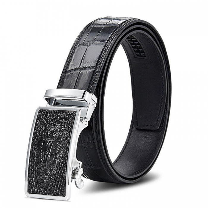 Mens Alligator Leather Belt with Automatic Buckle
