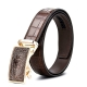 Mens Alligator Leather Belt with Automatic Buckle-Brown