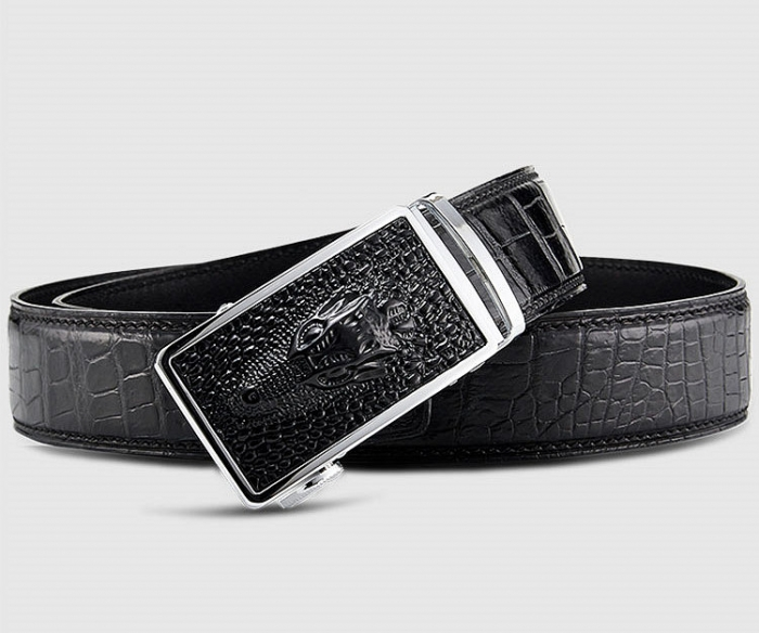 Mens Alligator Leather Belt with Automatic Buckle-Buckle