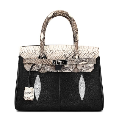 Stingray Leather Handbag Padlock Bag