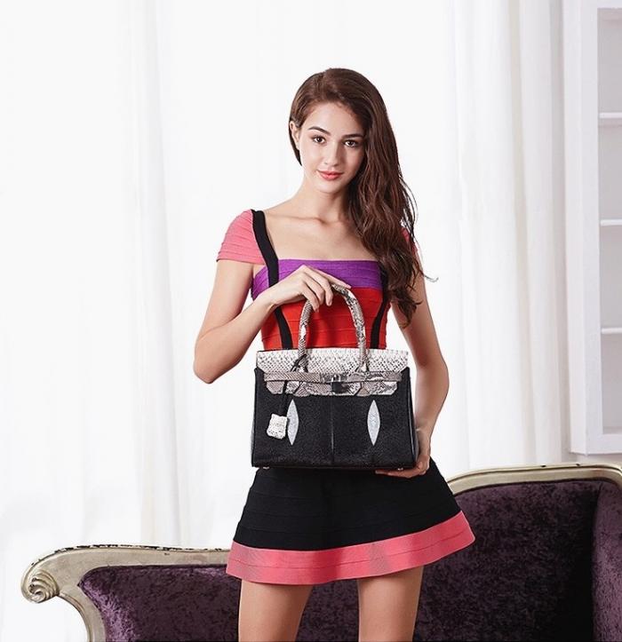 Stingray Leather Handbag Padlock Bag for Women