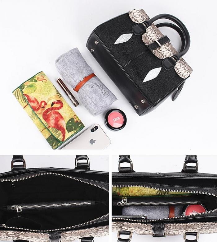 Stingray Leather Handbags Snap Closure Purses