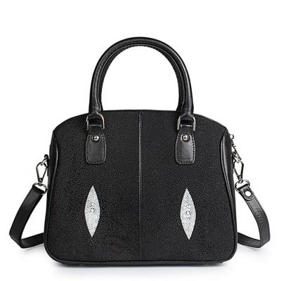 Stingray Leather Top-handle Tote Bag Crossbody Shoulder Bag-Black