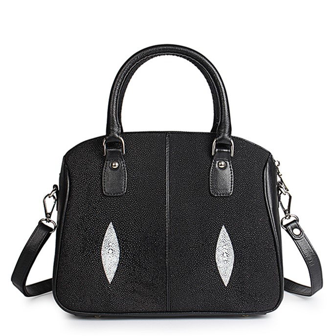 Stingray Leather Top-handle Tote Bag Crossbody Shoulder Bag-Black