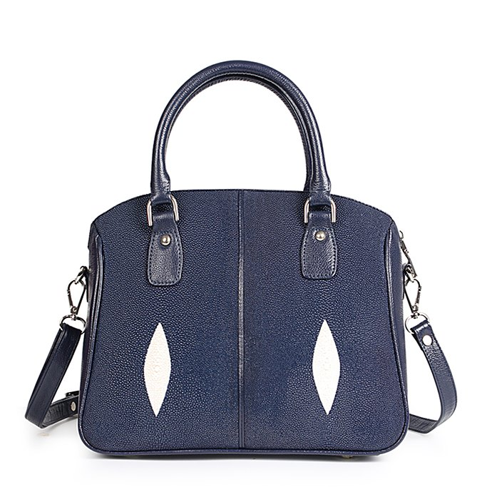Stingray Leather Top-handle Tote Bag Crossbody Shoulder Bag-Blue