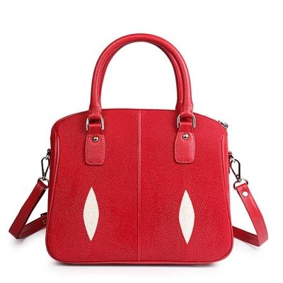 Stingray Leather Top-handle Tote Bag Crossbody Shoulder Bag-Red
