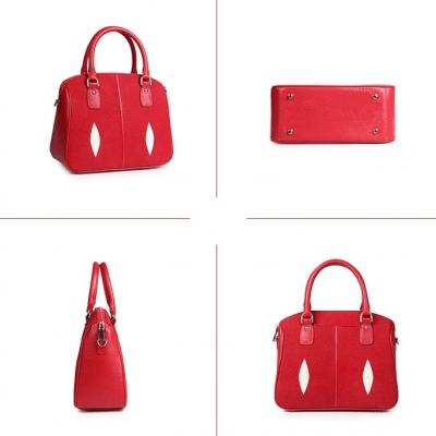 Stingray Leather Top-handle Tote Bag Crossbody Shoulder Bag-Red-Details