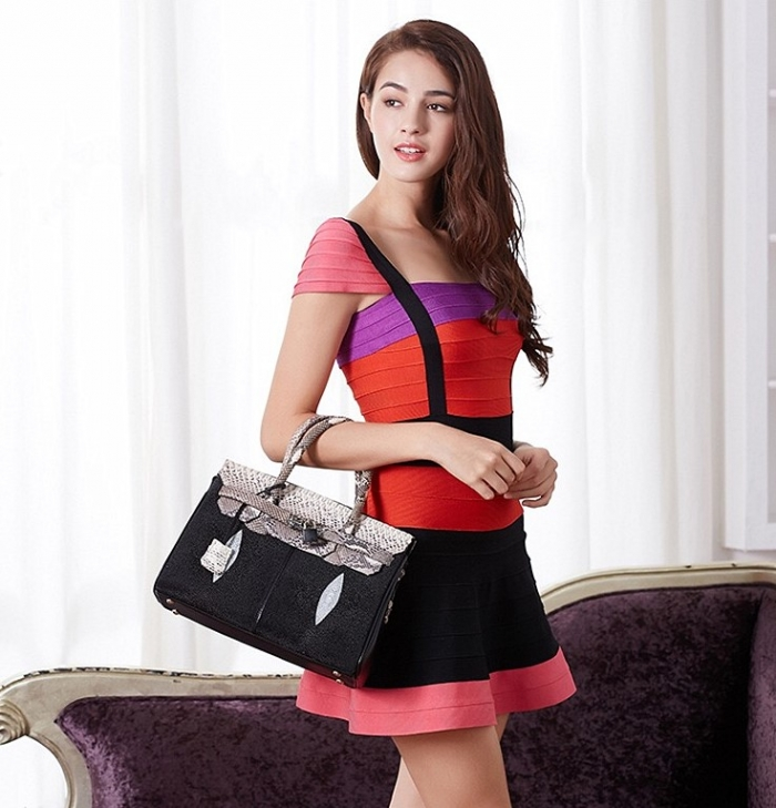 Stylish Stingray Leather Handbag Padlock Bag