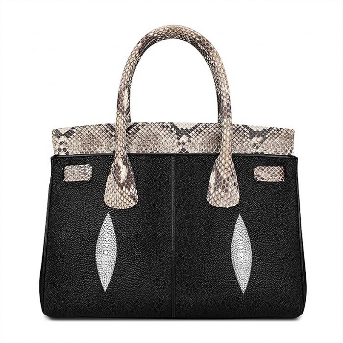 Stylish Stingray Leather Handbag Padlock Bag for Women-Back