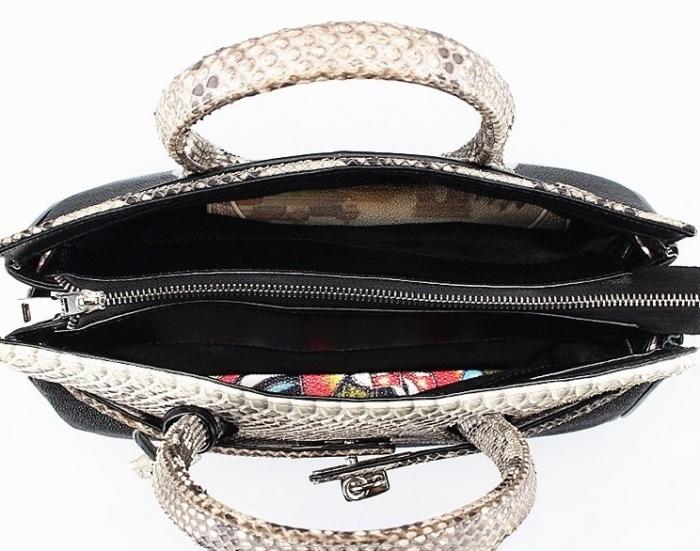 Stylish Stingray Leather Handbag Padlock Bag for Women-Inside