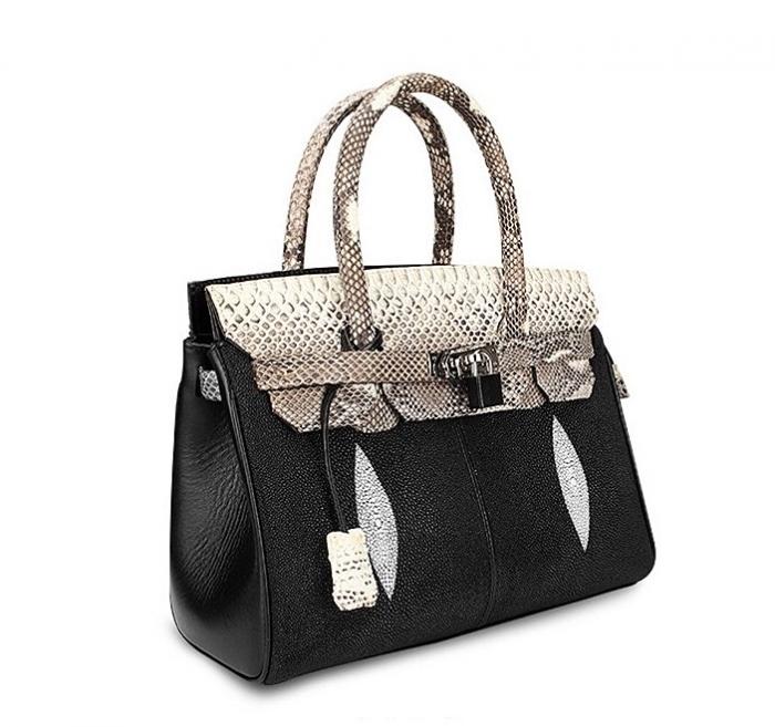 Stylish Stingray Leather Handbag Padlock Bag for Women-Micro side