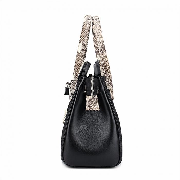 Stylish Stingray Leather Handbag Padlock Bag for Women-Side