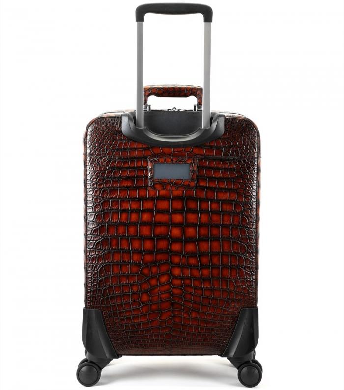 Alligator Leather Luggage Business Travel Spinner Suitcase-Back