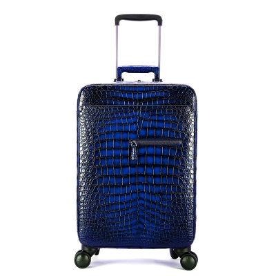 Alligator Leather Luggage Business Travel Spinner Suitcase-Blue
