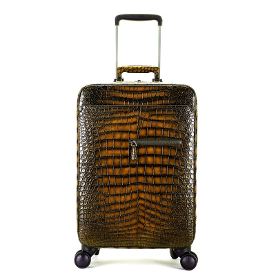 Alligator Leather Luggage Business Travel Spinner Suitcase-Brown