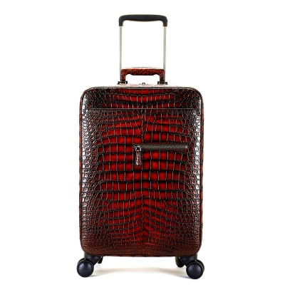 Alligator Leather Luggage Business Travel Spinner Suitcase-Burgundy