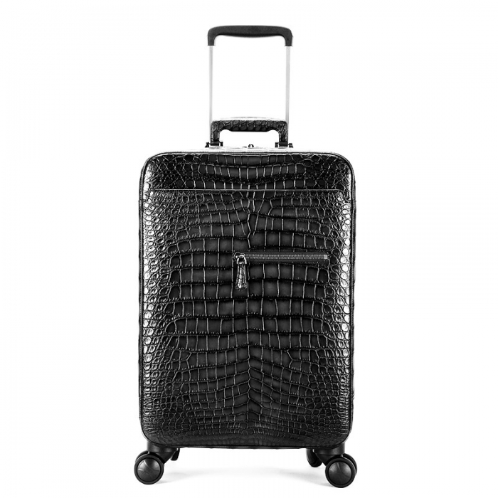 Alligator Leather Luggage Business Travel Spinner Suitcase-Gray