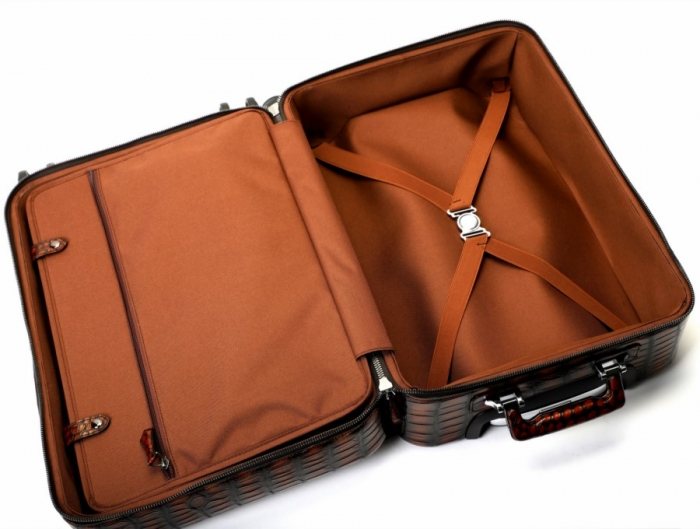 Alligator Leather Luggage Business Travel Spinner Suitcase-Inside