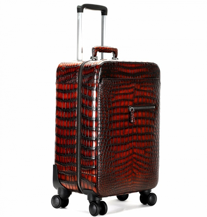 Alligator Leather Luggage Business Travel Spinner Suitcase-Micro Side