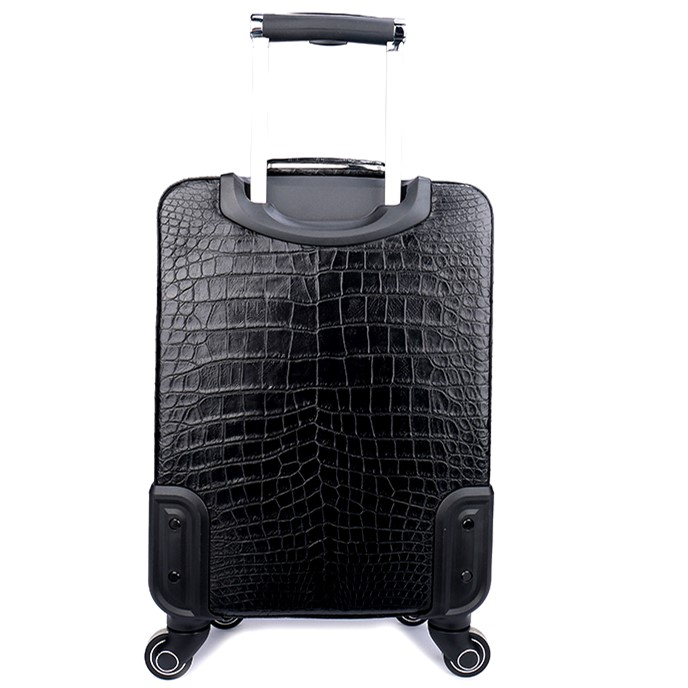 Classic Alligator Luggage Alligator Suitcase with Spinner Wheels-Back