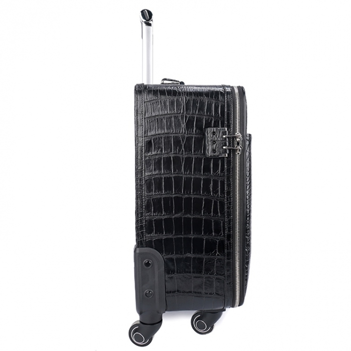 Classic Alligator Luggage Alligator Suitcase with Spinner Wheels-Side