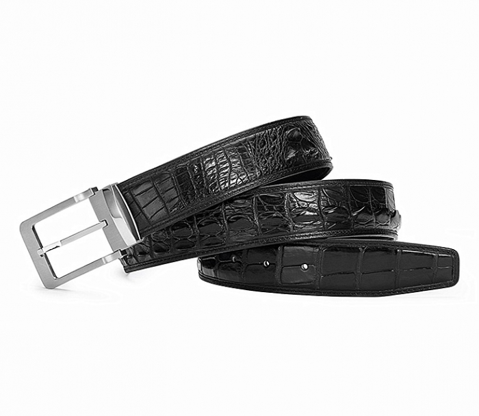 Classic Crocodile Hornback Belts for Men-Black-1
