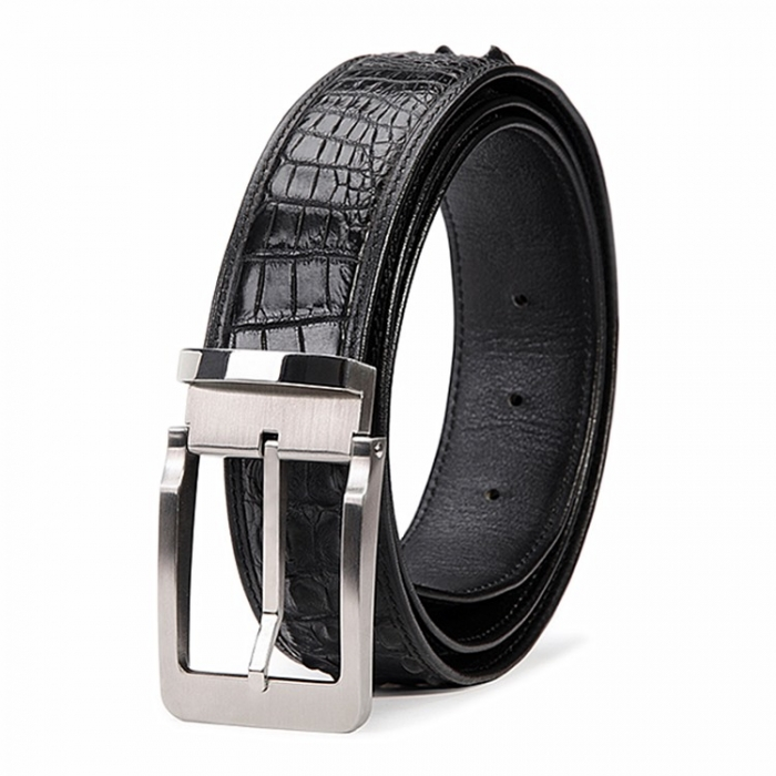 Classic Crocodile Hornback Belts for Men-Black
