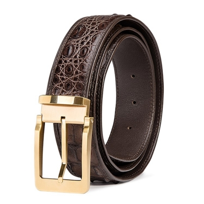 Classic Crocodile Hornback Belts for Men-Brown