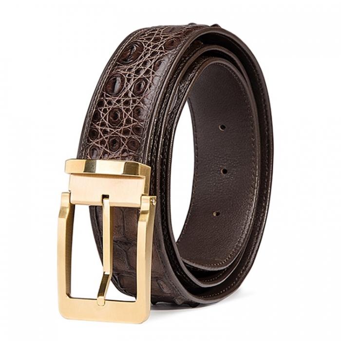 Classic Crocodile Hornback Belts for Men-Brown