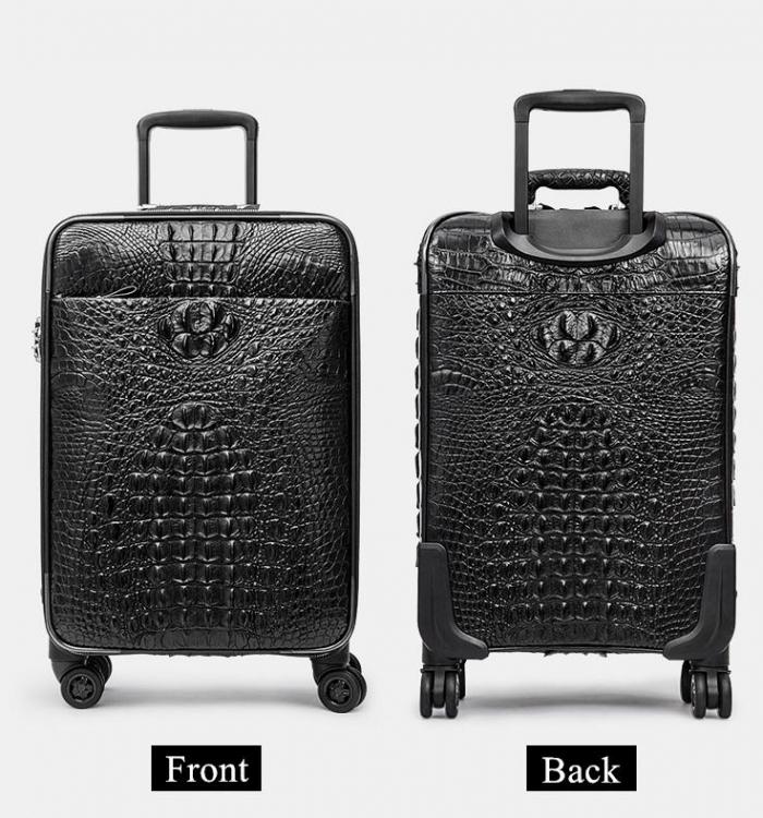 Crocodile Leather Luggage 3 Piece Set Suitcase
