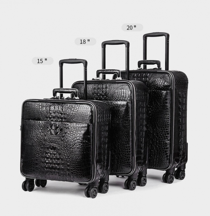 Crocodile Leather Luggage 3 Piece Set Suitcase With Spinner Wheels