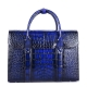 Handcrafted Alligator Briefcase Professional Business Bag for Men-Blue