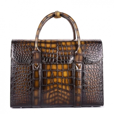 Handcrafted Alligator Briefcase Professional Business Bag for Men-Brown