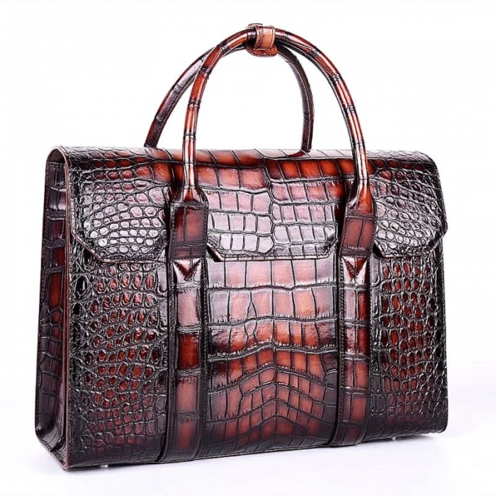 Handcrafted Alligator Briefcase Professional Business Bag for Men-Micro side
