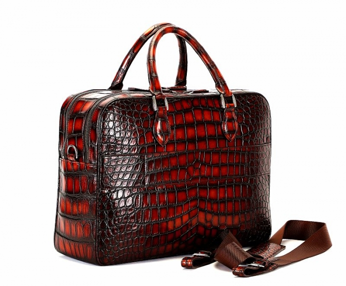 Large Handcrafted Alligator Briefcases Business Travel Bags-1