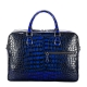 Large Handcrafted Alligator Briefcases Business Travel Bags-Blue