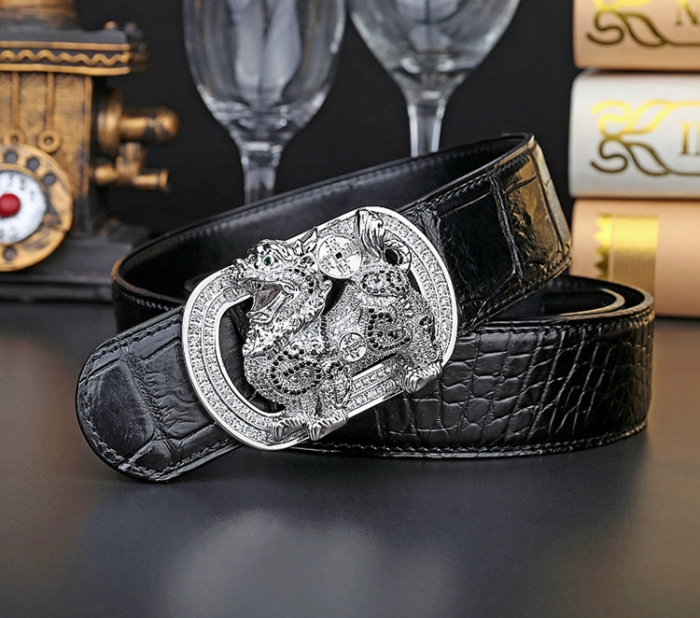 Mens Alligator Belt with Natural Zircons and Kylin Pattern Pin Buckle-1