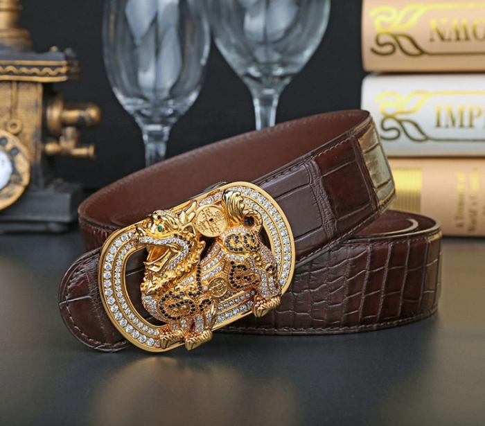 Mens Alligator Belt with Natural Zircons and Kylin Pattern Pin Buckle-2