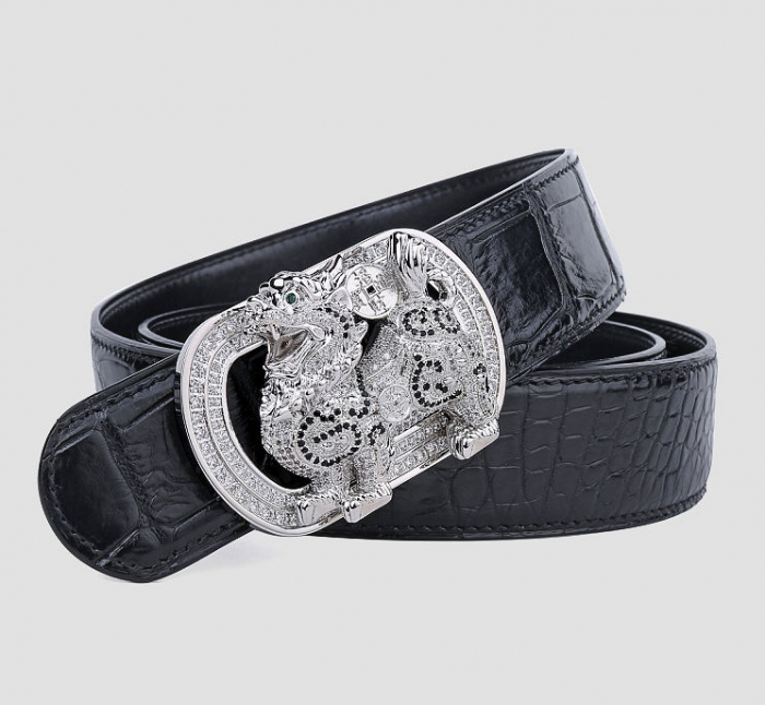 Mens Alligator Belt with Natural Zircons and Kylin Pattern Pin Buckle-Black-1