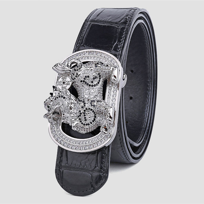 Mens Alligator Belt with Natural Zircons and Kylin Pattern Pin Buckle-Black