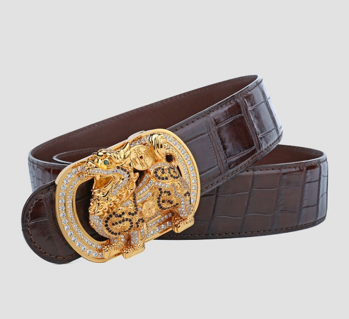 Mens Alligator Belt with Natural Zircons and Kylin Pattern Pin Buckle-Brown-1