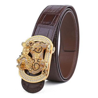 Mens Alligator Belt with Natural Zircons and Kylin Pattern Pin Buckle-Brown