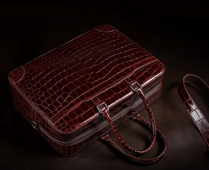 Mens Alligator Briefcase Laptop Bag Messenger Bag-1