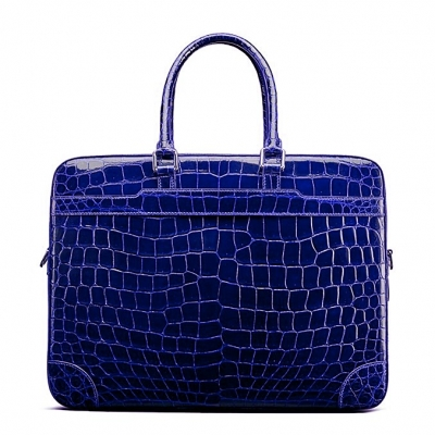 Mens Alligator Briefcase Laptop Bag Messenger Bag-Blue