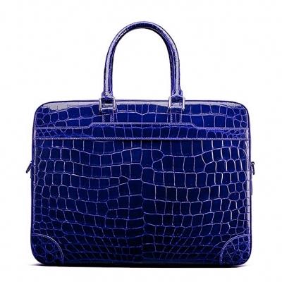Mens Alligator Briefcase Laptop Bag Messenger Bag-Blue