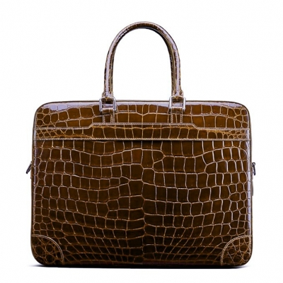 Mens Alligator Briefcase Laptop Bag Messenger Bag-Brown