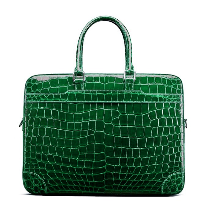 Mens Alligator Briefcase Laptop Bag Messenger Bag-Green